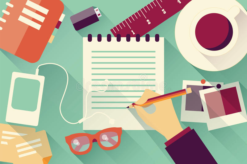 Writing into notebook background with coffee, photos, glasses an. D flash drive vector illustration