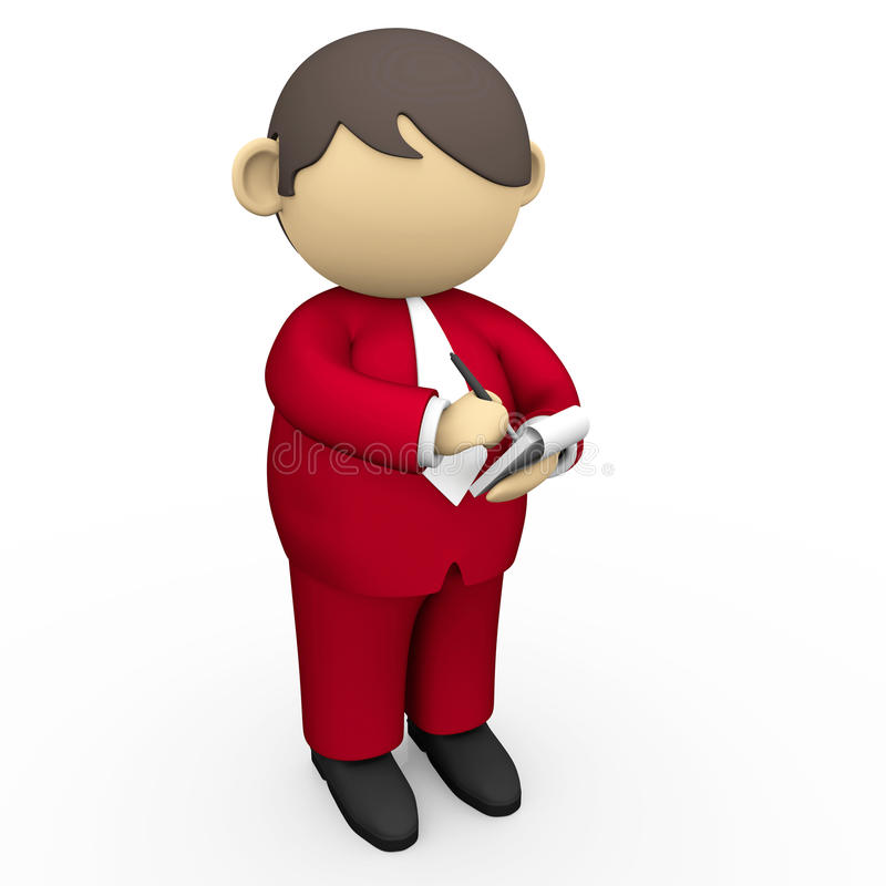 Writing on notepad. Red suit businessman writing on notepad with pen stock illustration