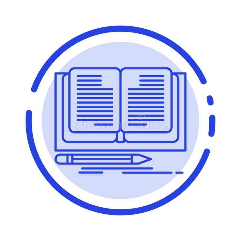 Writing, Novel, Book, Story Blue Dotted Line Line Icon royalty free illustration