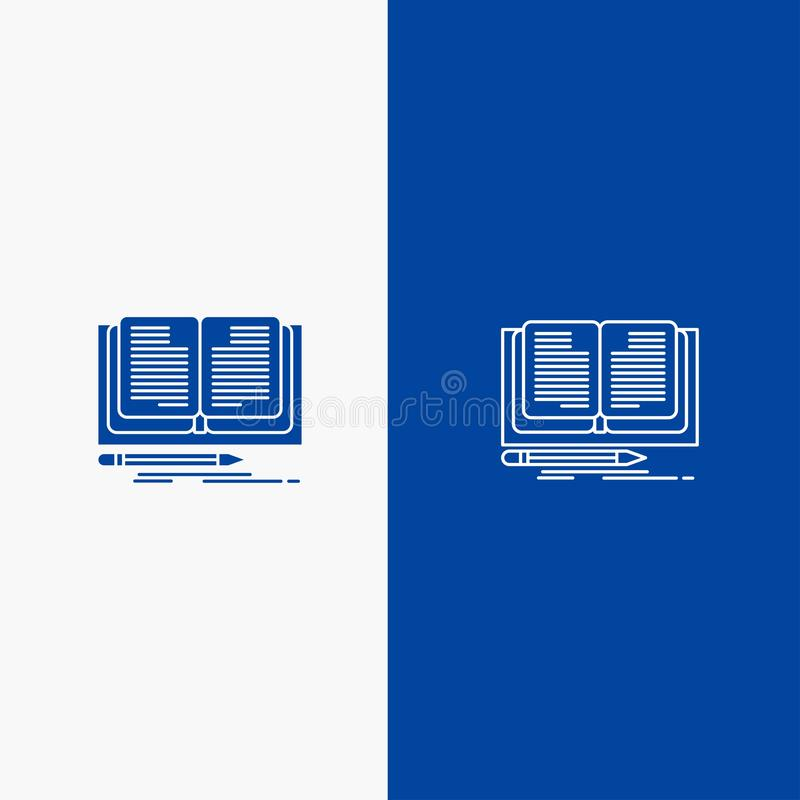 Writing, Novel, Book, Story Line and Glyph Solid icon Blue banner Line and Glyph Solid icon Blue banner stock illustration