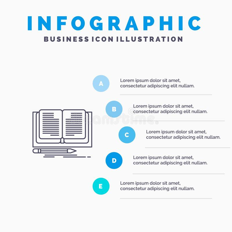 Writing, Novel, Book, Story Line icon with 5 steps presentation infographics Background royalty free illustration