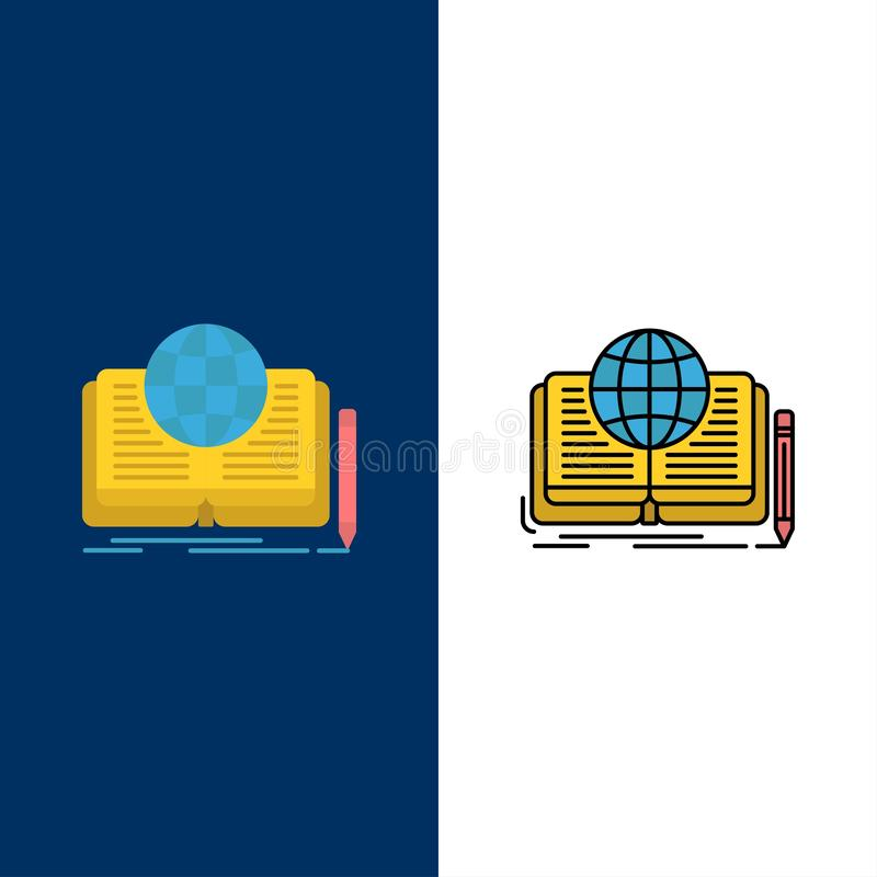 Writing, Novel, Book, Story, Theory  Icons. Flat and Line Filled Icon Set Vector Blue Background vector illustration