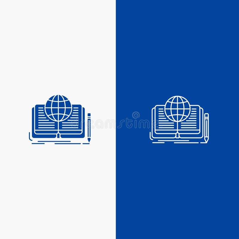 Writing, Novel, Book, Story, Theory Line and Glyph Solid icon Blue banner Line and Glyph Solid icon Blue banner stock illustration