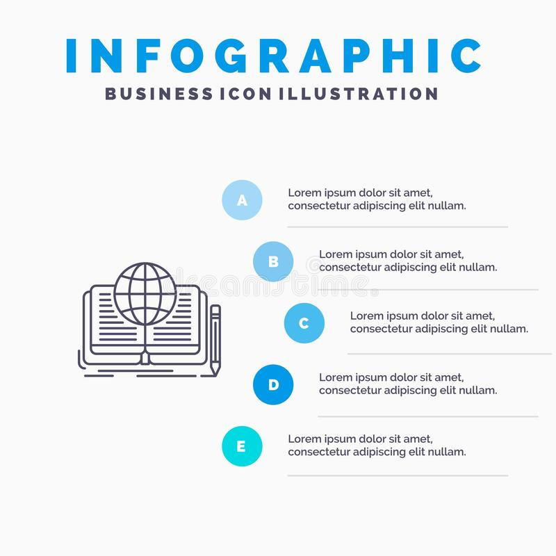 Writing, Novel, Book, Story, Theory Line icon with 5 steps presentation infographics Background vector illustration