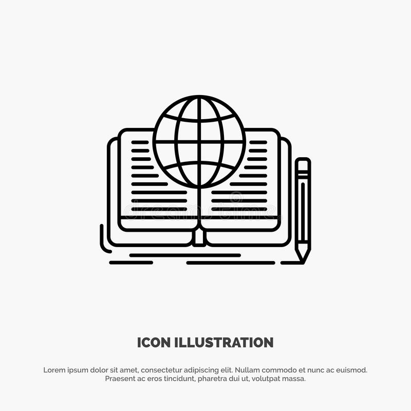Writing, Novel, Book, Story, Theory Line Icon Vector royalty free illustration