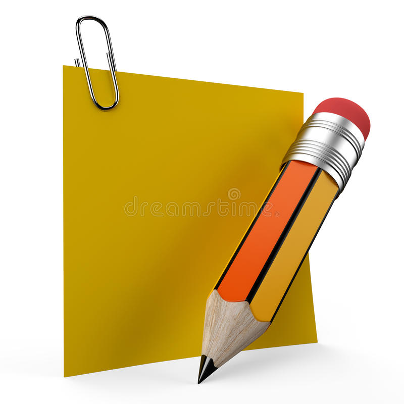 Writing On Office Note With A Yellow Pencil Repres Royalty Free Stock Image