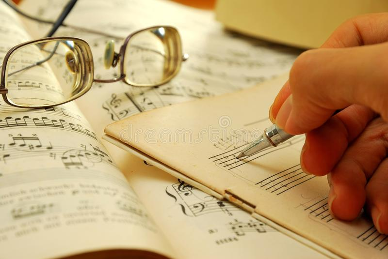 Download Writing On An Old Musical Manuscript Stock Image - Image: 14065759