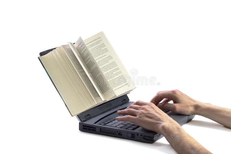 Writing online. Book on computer screen and hands typing the keyboard suggesting the concept of writing online