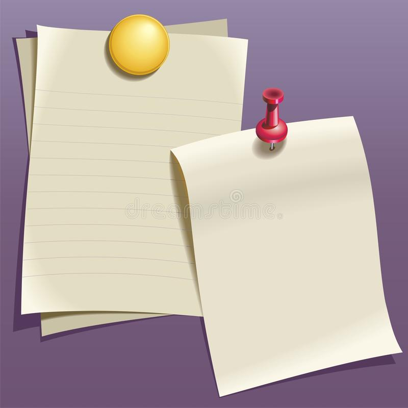Writing paper. Red and yellow pin on purple wall royalty free illustration