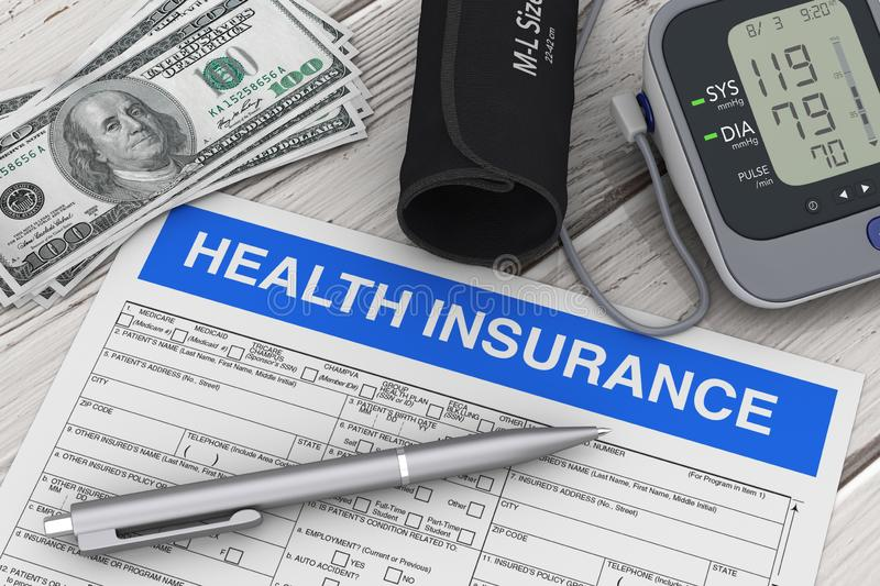 Writing Pen with Health Insurance Form near Digital Blood Pressure Monitor and Money. 3d Rendering. Writing Pen with Health Insurance Form near Digital Blood vector illustration
