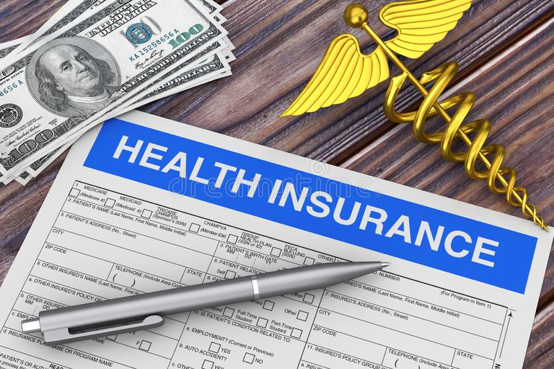 Writing Pen with Health Insurance Form near Gold Medical Caduceus Symbol and Money. 3d Rendering. Writing Pen with Health Insurance Form near Gold Medical royalty free stock image
