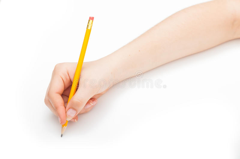 Writing with a pencil royalty free stock photo