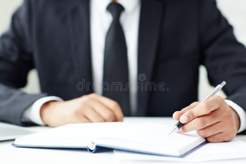 Writing plan biznesowy zdjęcie royalty free