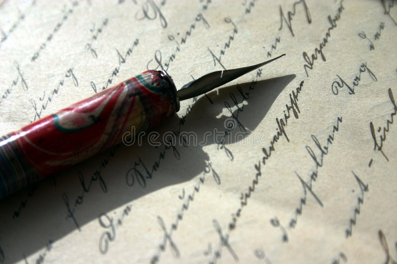Writing poems or signing contracts? stock images