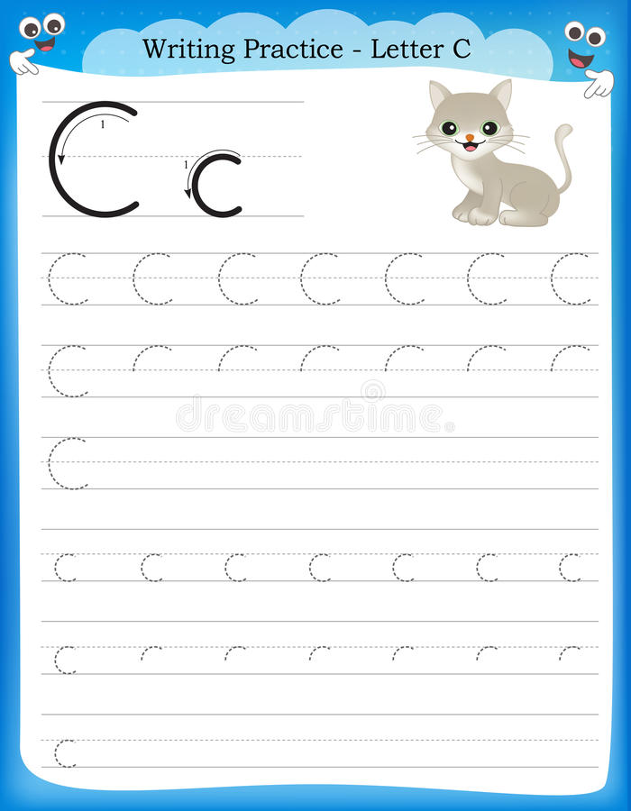 Writing practice letter C vector illustration