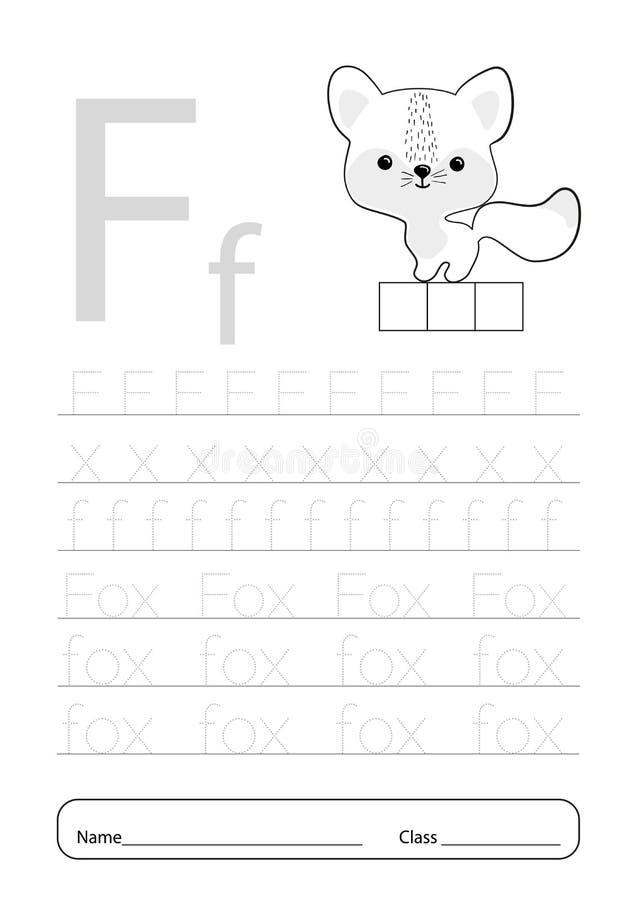 Writing Practice Letter F Printable Worksheet For Preschool.Exercises For  Little Children.Vector Illustration Stock Illustration - Illustration Of  Book, Alphabet: 201111649