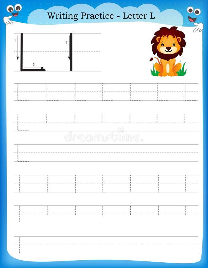 writing practice letter l stock vector illustration of kids 50726537. Black Bedroom Furniture Sets. Home Design Ideas