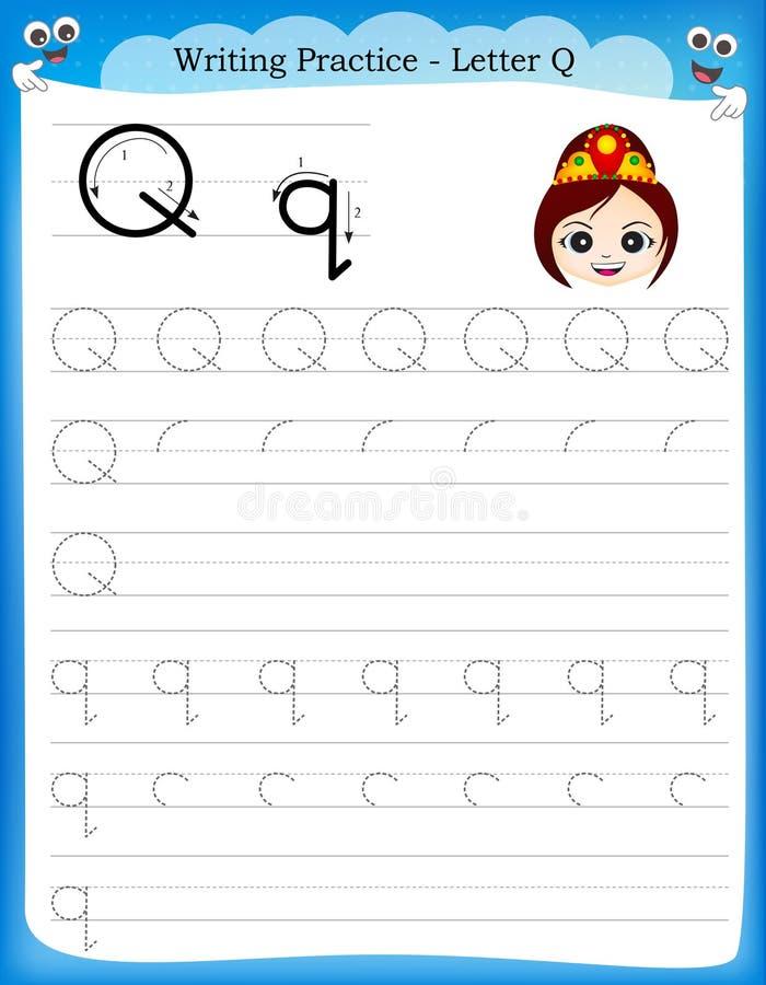 Writing practice letter Q. Printable worksheet with clip art for preschool / kindergarten kids to improve basic writing skills vector illustration