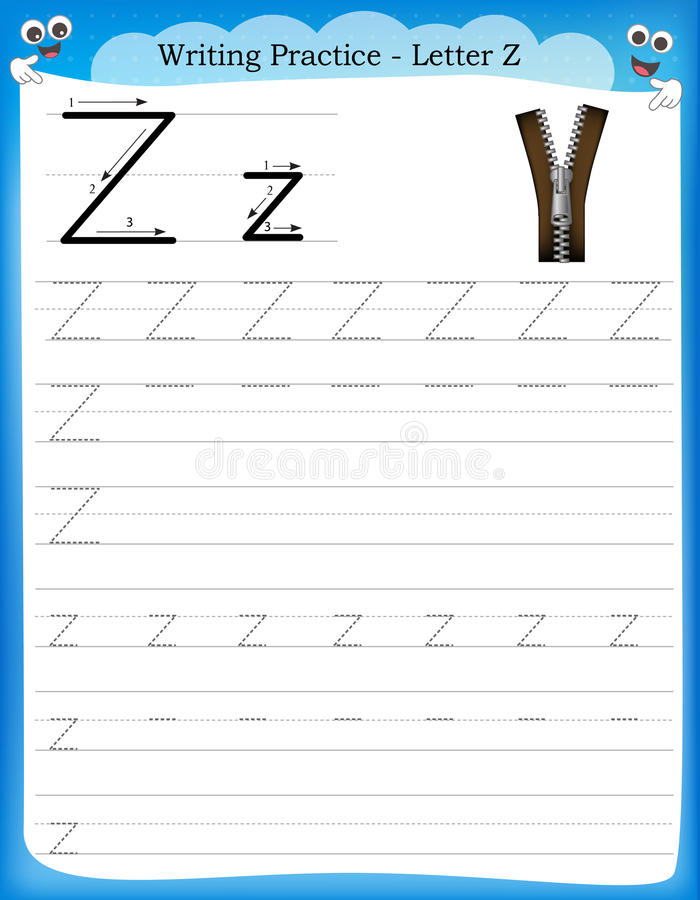 writing practice letter z stock vector image of homework 50726935. Black Bedroom Furniture Sets. Home Design Ideas