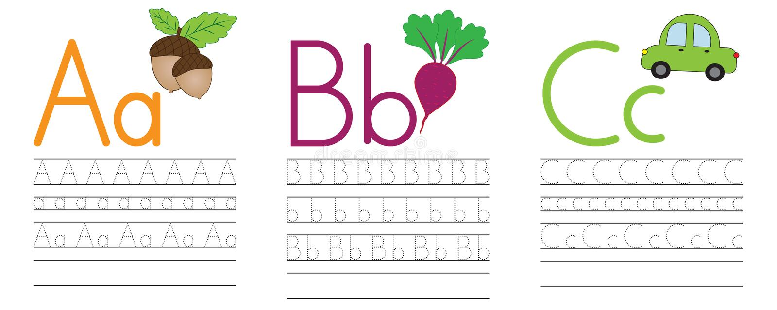 Writing practice of letters A,B,C. Education for children. Vector illustration royalty free illustration