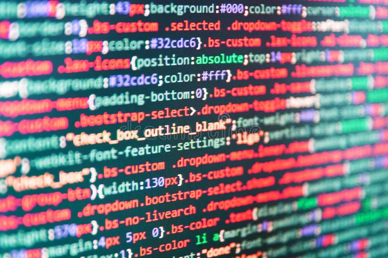 writing programming code on laptop stock image  image of