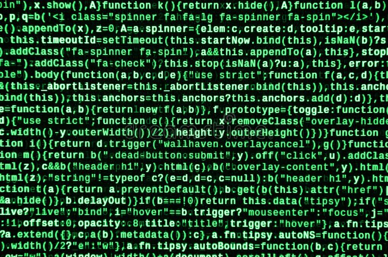 Writing programming code on laptop. Digital binary data on computer screen. Project managers work new idea. Software engineer at work. Software abstract royalty free stock photography