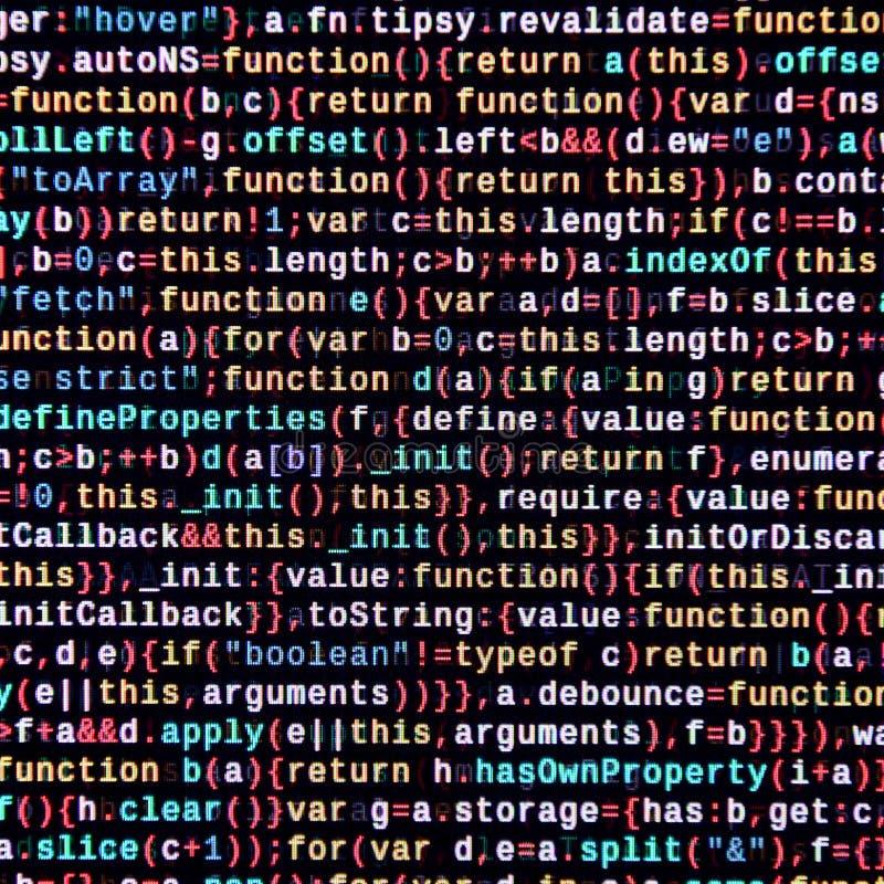 writing programming code on laptop digital binary data on