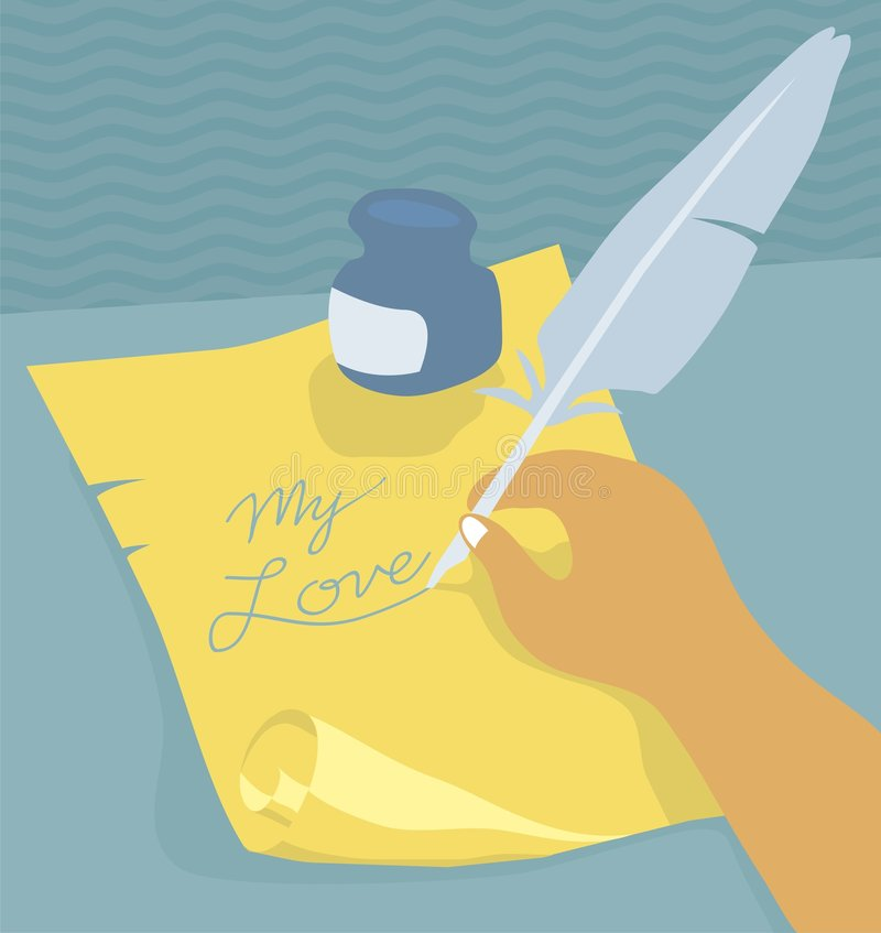 Writing with quill stock photography