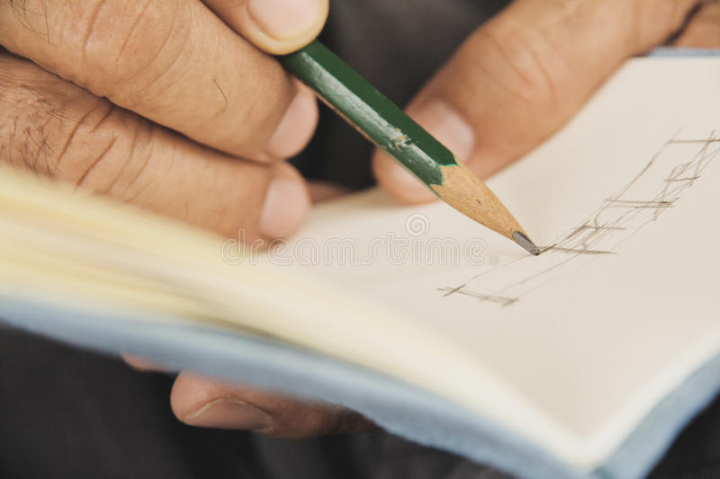 Writing on sketchbook stock photos