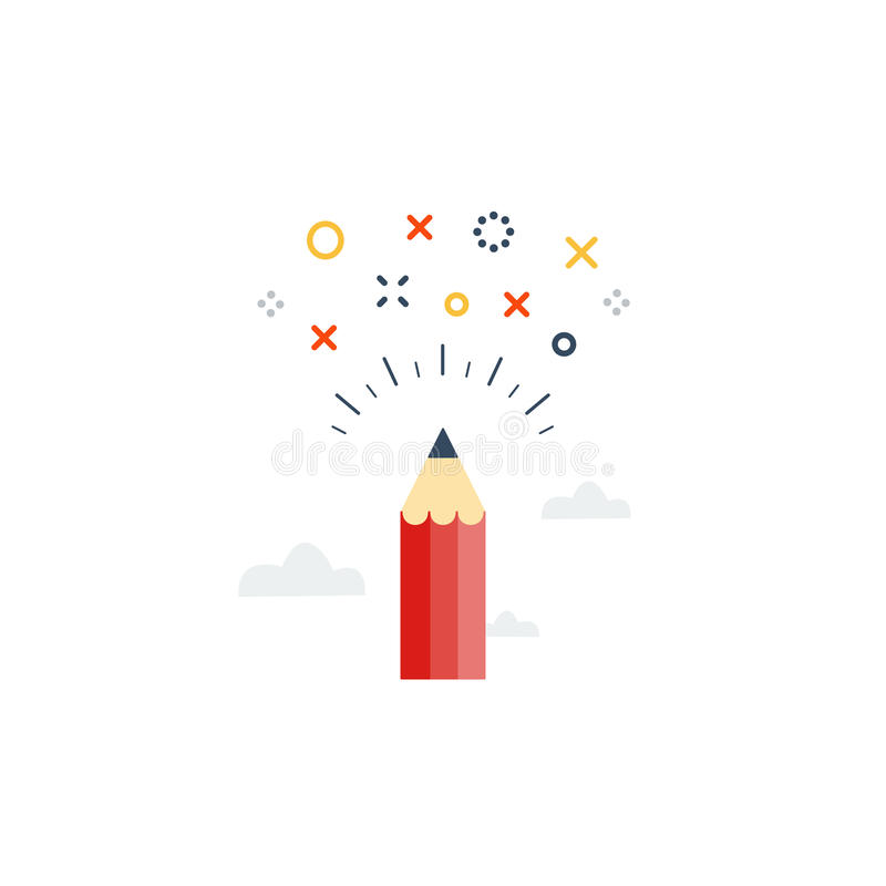 Writing skills, creative ideas for story. Creative writing. Storytelling. Graphic design studio symbol. Drawing sketching concept, vector illustration royalty free illustration