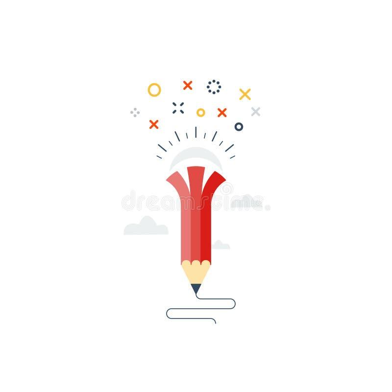 Writing skills, creative ideas for story. Creative writing. Storytelling.Graphic design studio symbol, vector illustration stock illustration