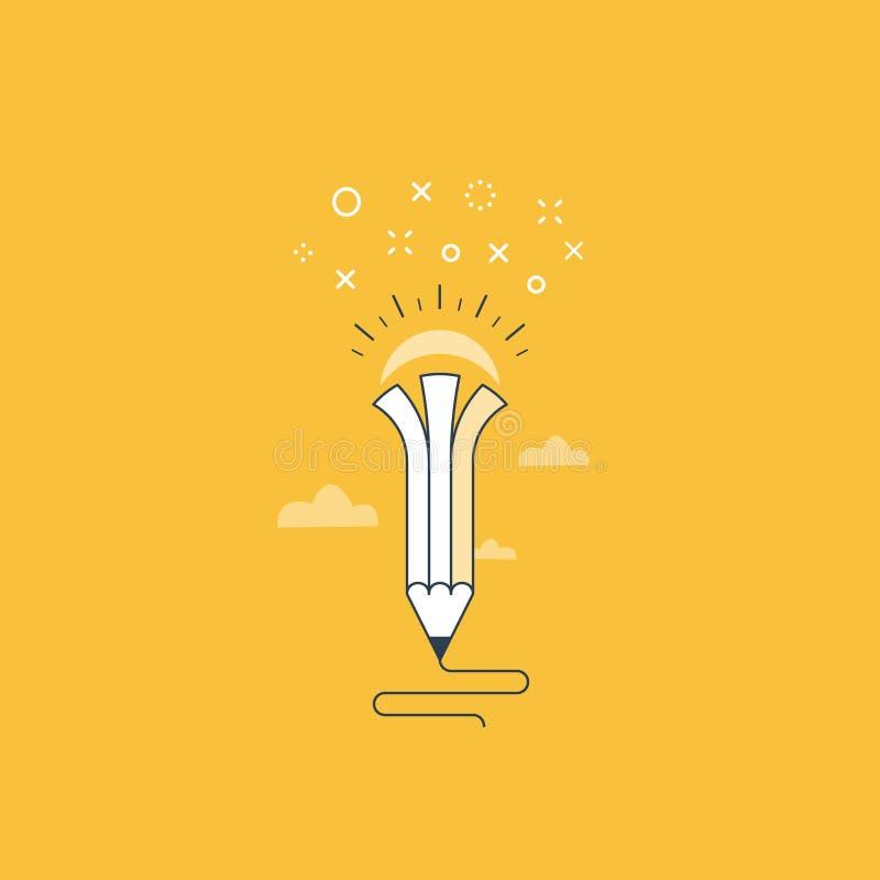 Writing skills, creative ideas for story. Creative writing. Storytelling. Imagination concept, vector illustration stock illustration
