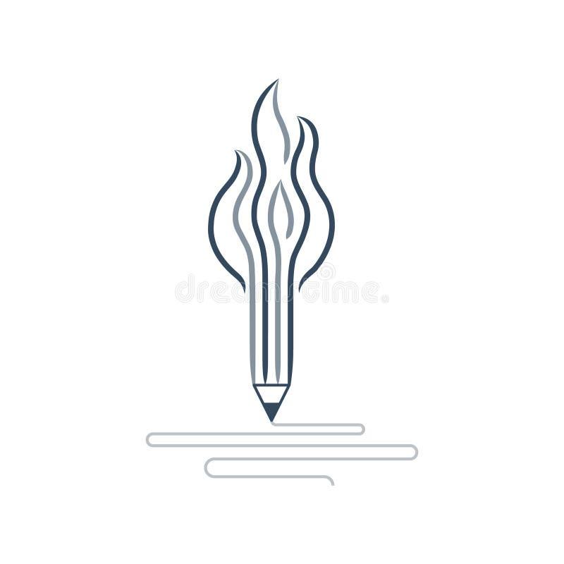 Writing skills development, painting class icon. Creative writing, storytelling, graphic design studio symbol, vector illustration royalty free illustration