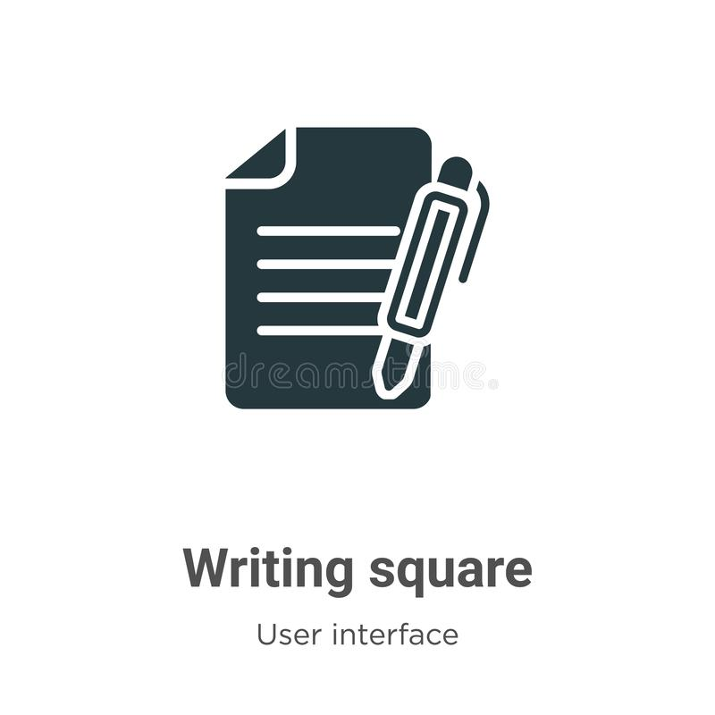 Writing square vector icon on white background. Flat vector writing square icon symbol sign from modern user interface collection stock illustration