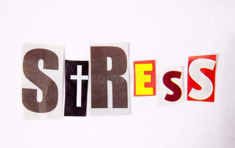 The writing Stress word made of magazine diffrent letters. Health concept stock photography
