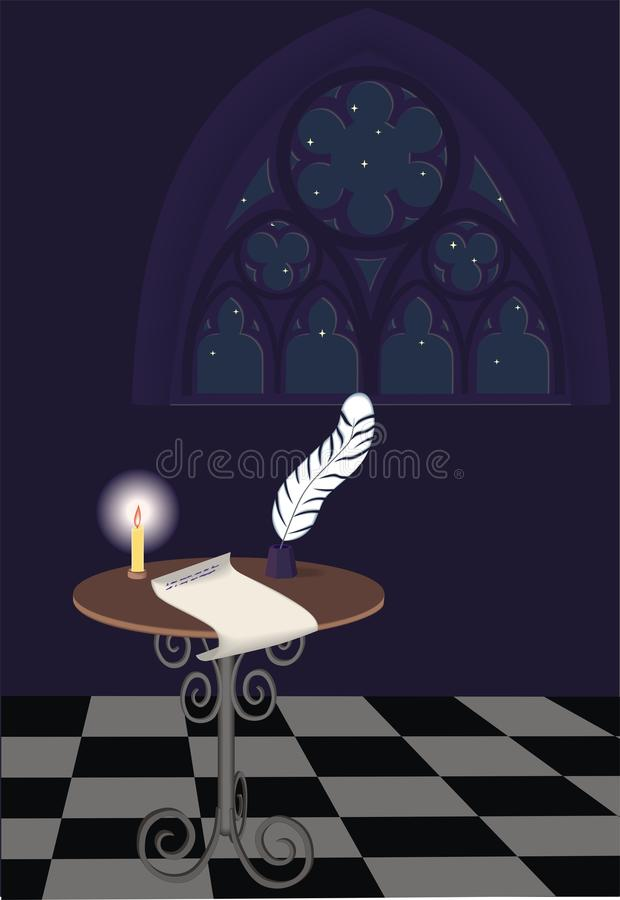 Writing table and Gothic window. Writing table with unfinished letter and Gothic window, night royalty free illustration