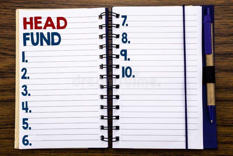 Writing teksta seansu głowy fundusz Biznesowy pojęcie dla Inwestorskiego finansowanie pieniądze Pisać na notatnika nutowym papier obrazy royalty free