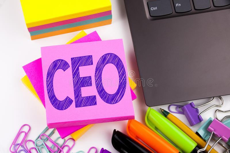 Writing text showing CEO made in the office with surroundings such as laptop, marker, pen. Business concept for Operating Leader B stock photography