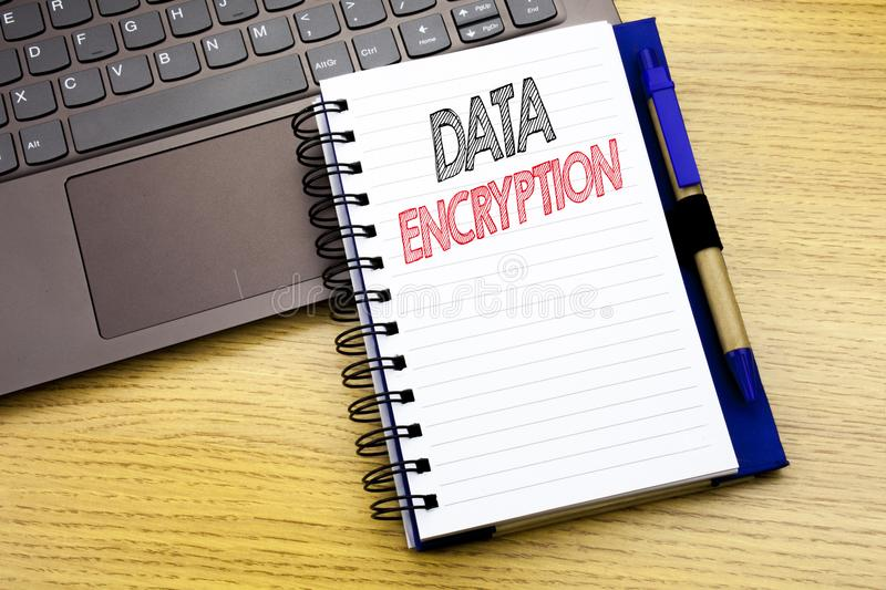 Writing text showing Data Encryption. Business concept for Information Security written on notebook book on the wooden background. Writing text showing Data stock image