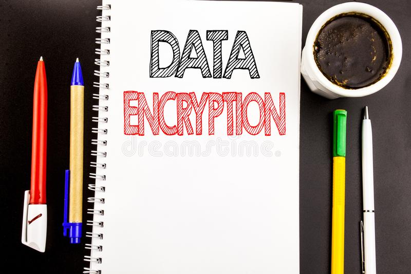 Writing text showing Data Encryption. Business concept for Information Security Written on notepad note paper background with spac. Writing text showing Data stock photos