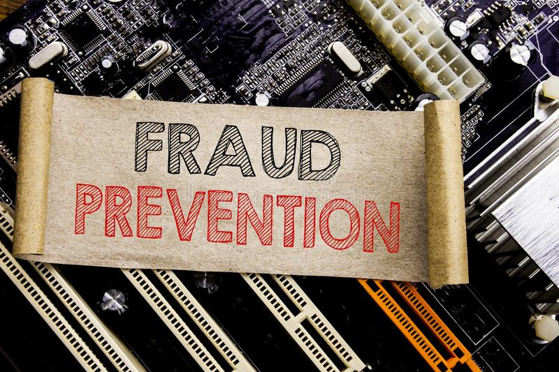 Writing text showing Fraud Prevention. Business concept for Crime Protection Written on sticky note, computer main board backgroun. Writing text showing Fraud stock photography