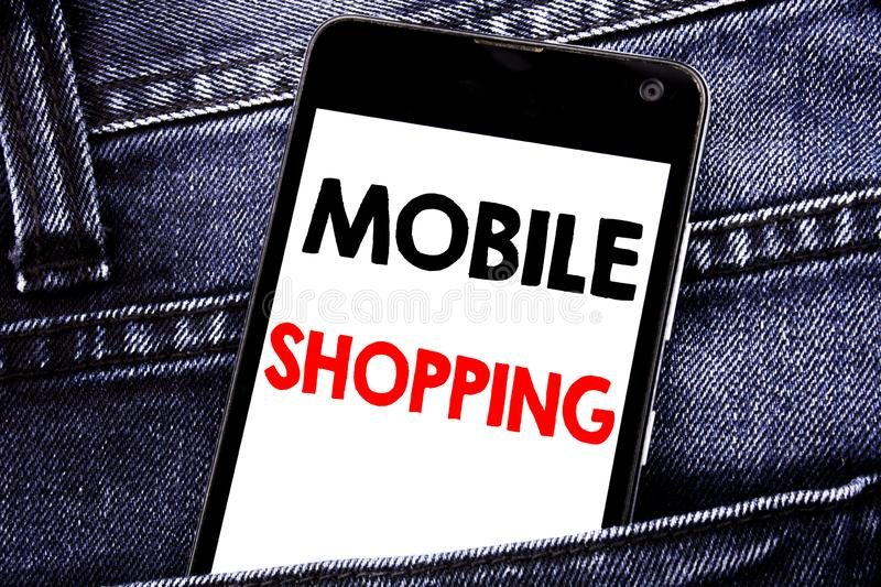 Writing text showing Mobile Shopping. Business concept for Cellphone online order written mobile cell phone with copy space in the. Writing text showing Mobile royalty free stock images