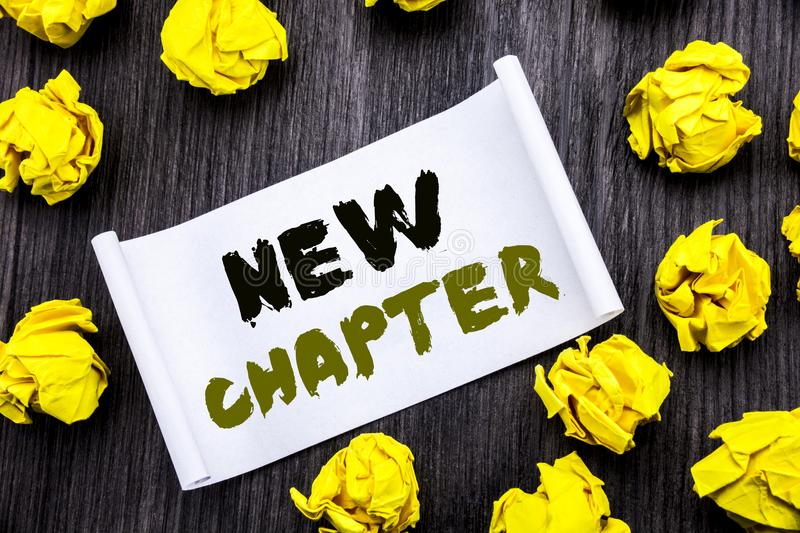 Writing text showing New Chapter. Business concept for Starting New Future Life Written on sticky note notepad note notebook book. Writing text showing New stock image