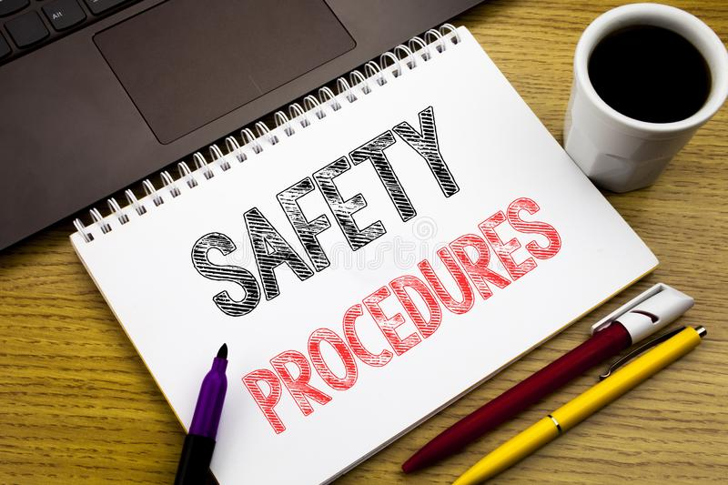 Writing text showing Safety Procedures. Business concept for Accident Risk Policy written on notebook book on the wooden backgroun. Writing text showing Safety stock photo