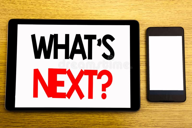 Writing text showing What is Next Question. Business concept for Next Future Plan Vision Progress Goal Guidance Written on tablet stock photos