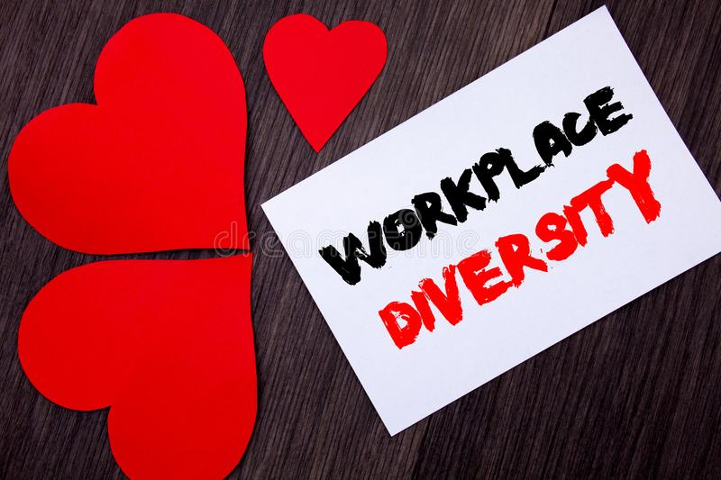 Writing text showing Workplace Diversity. Concept meaning Corporate Culture Global Concept For Disability written on notobook pap. Er note on wooden background stock photography