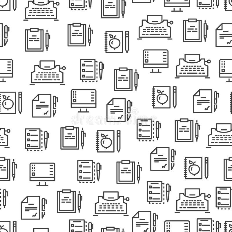 Writing tools line seamless pattern - creative background design. Stationery element pen and paper. Vector illustration vector illustration
