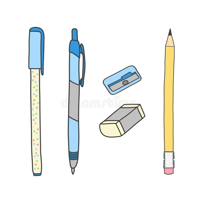 Writing tools. Pencil, pens, eraser and sharpener. Cute hand drawn illustration vector. White background. stock illustration