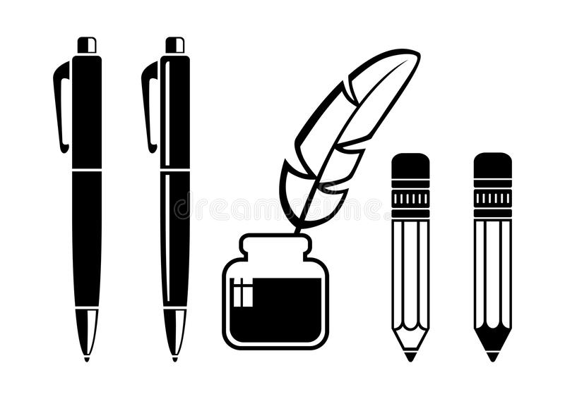 Writing tools. On white background stock illustration