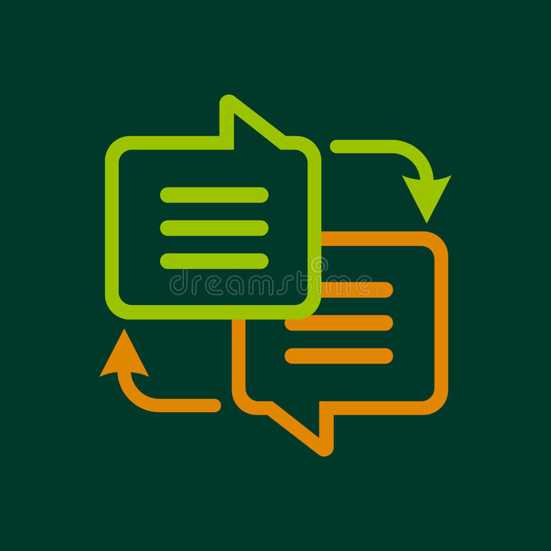 Writing translation icon, outline style stock illustration